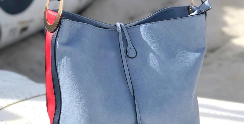 Piper Striped Handbag - Blue