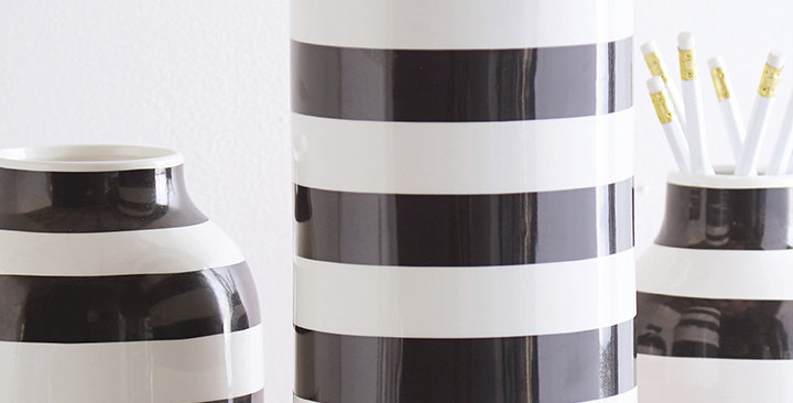 Black & White Striped Cylinder Vase