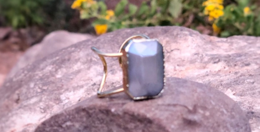 Smokey Grey Stone Ring