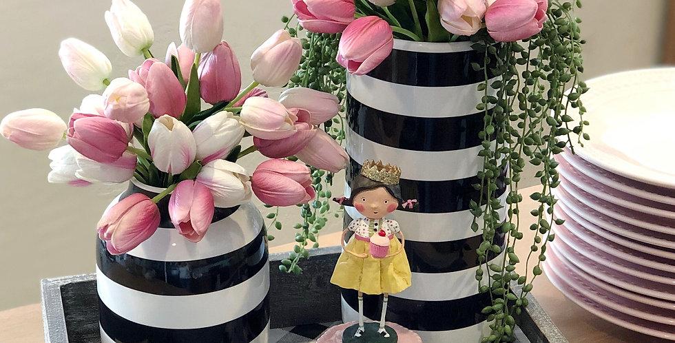 Black & White Striped Rounded Vase