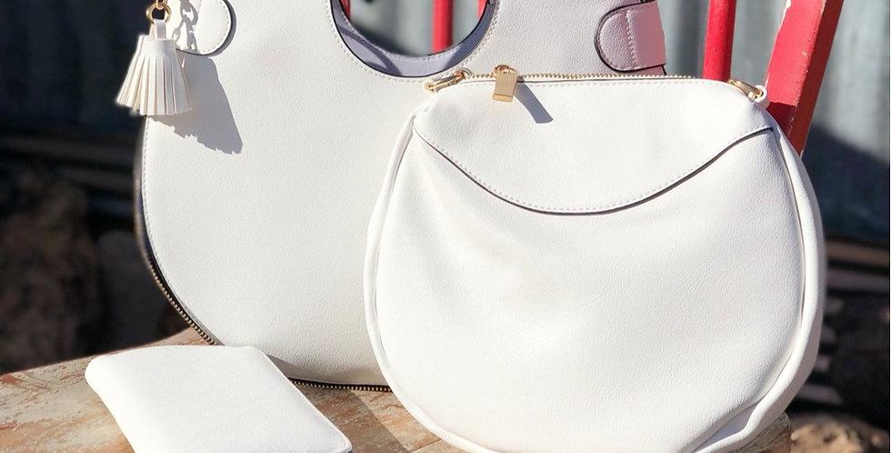 Caroline Retro Circle Bag - White