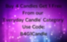 Buy 4 candles Get 1 Free coupon Code B4G1