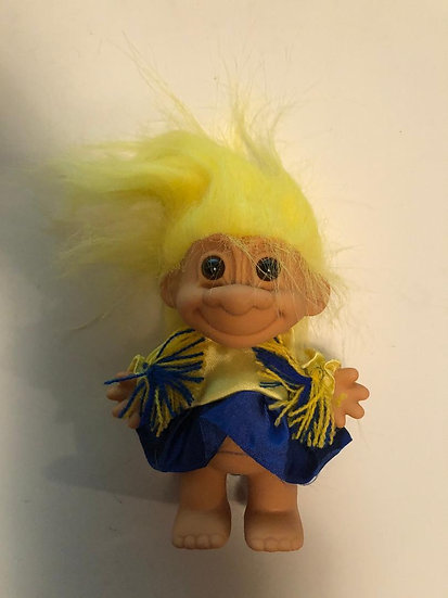 Cheerleader Blue/Yellow Genie Troll