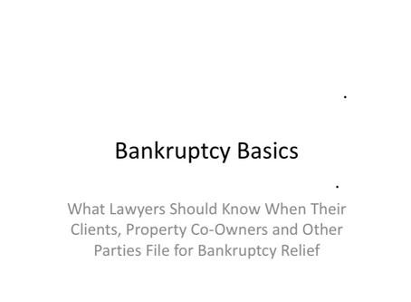 FREE Webinar - Bankruptcy Law 101