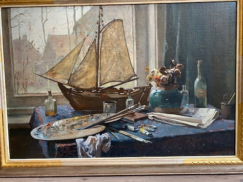 Interior with a ship model and a palette - Cornelis Vreedenburgh
