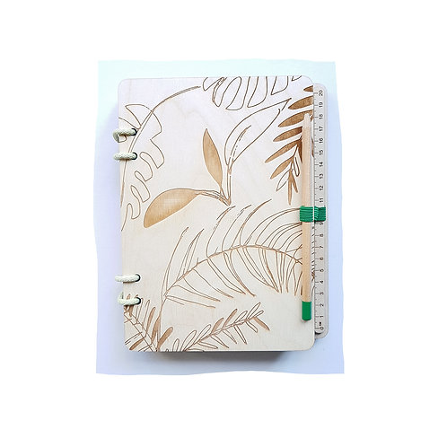 LARGE A5 JUNGLE WAXED NATURAL BIRCH PLYWOOD REFILLABLE NOTEBOOK & WOODEN PENCIL