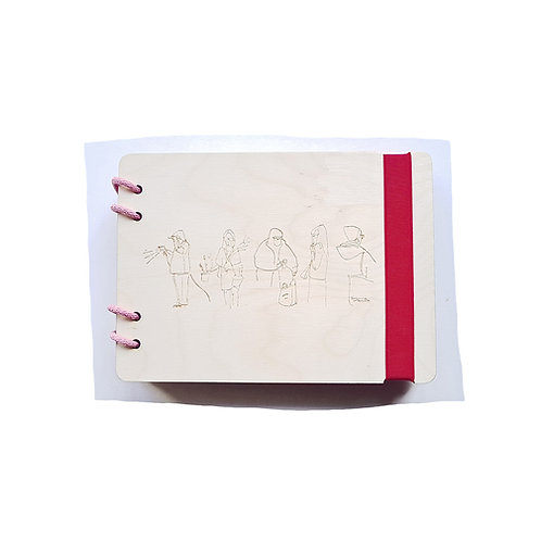 A5 QUEUING WAXED NATURAL BIRCH PLYWOOD REFILLABLE NOTEBOOK