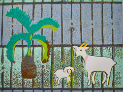 Bottle Palm and Goats