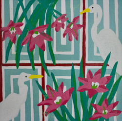 Great Egrets and Pink Flowers