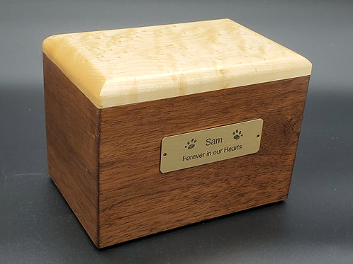 Pet Memorial Box, Urn - Sapelle and Birds Eye Maple