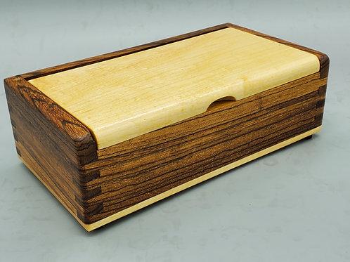 Swivel Top Keepsake Box - Zebrawood and Maple