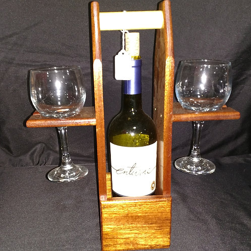 Wine Tote in Dark Sapelle Wood