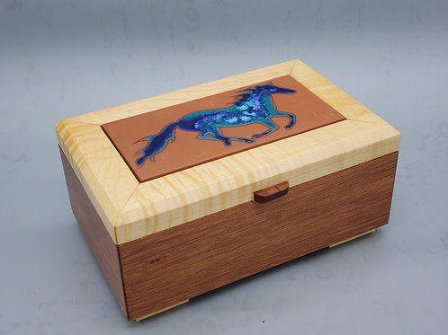 Sapele and Maple Box with Hand Painted Tile by Carly Quinn