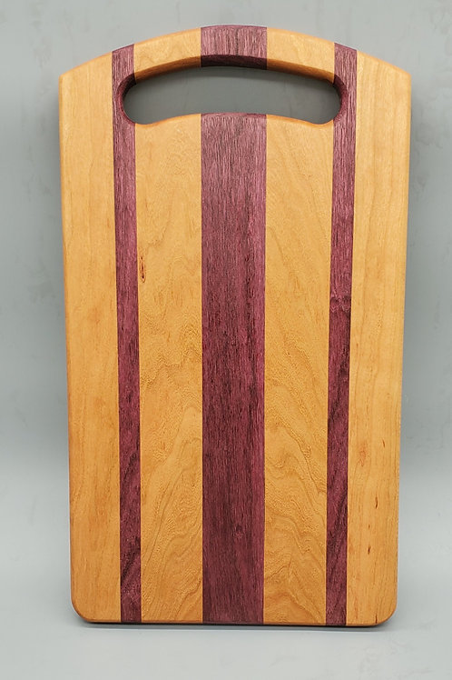 Cherry and Purple Heart Cheese Board with Handle