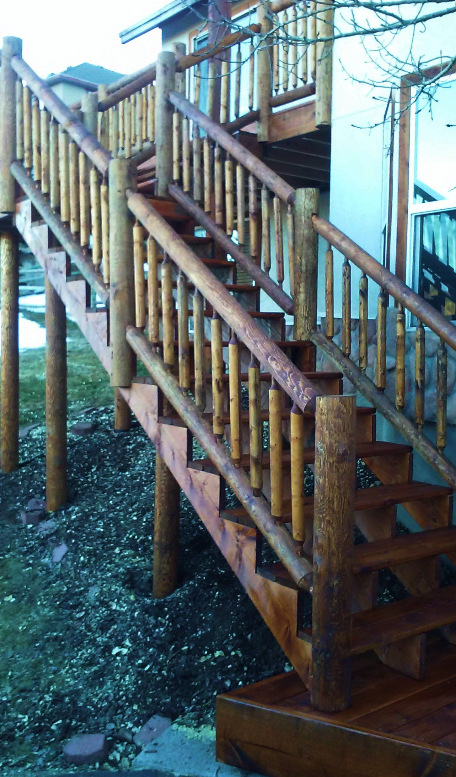 Rough-hewn timber stairs