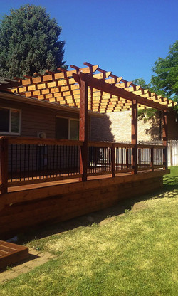 Redwood decking and trellis