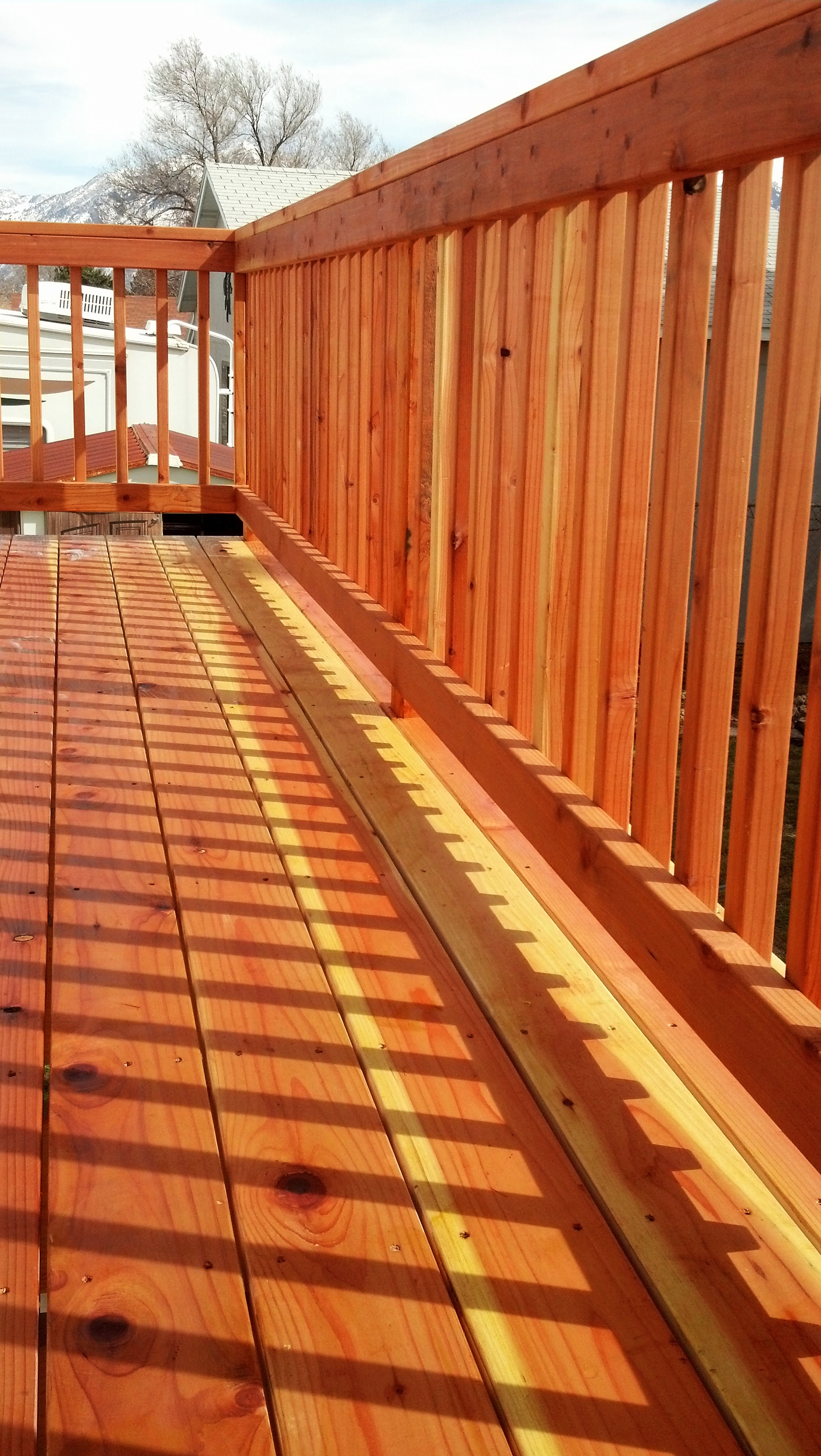 Redwood decking and handrail