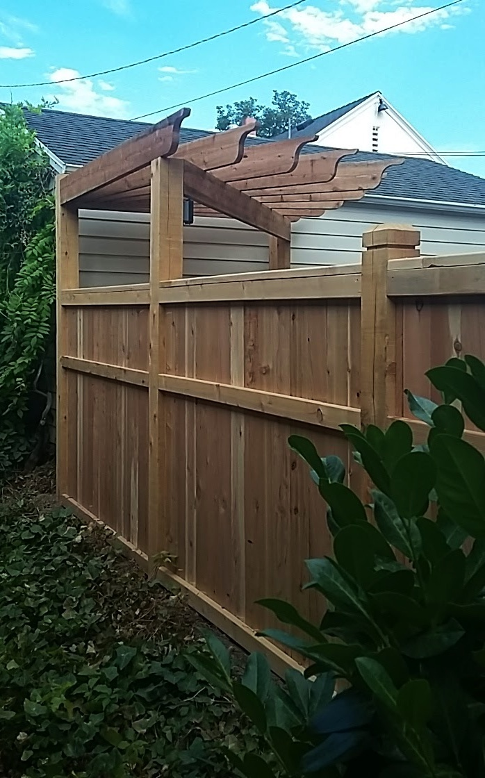 Redwood fencing and pergola