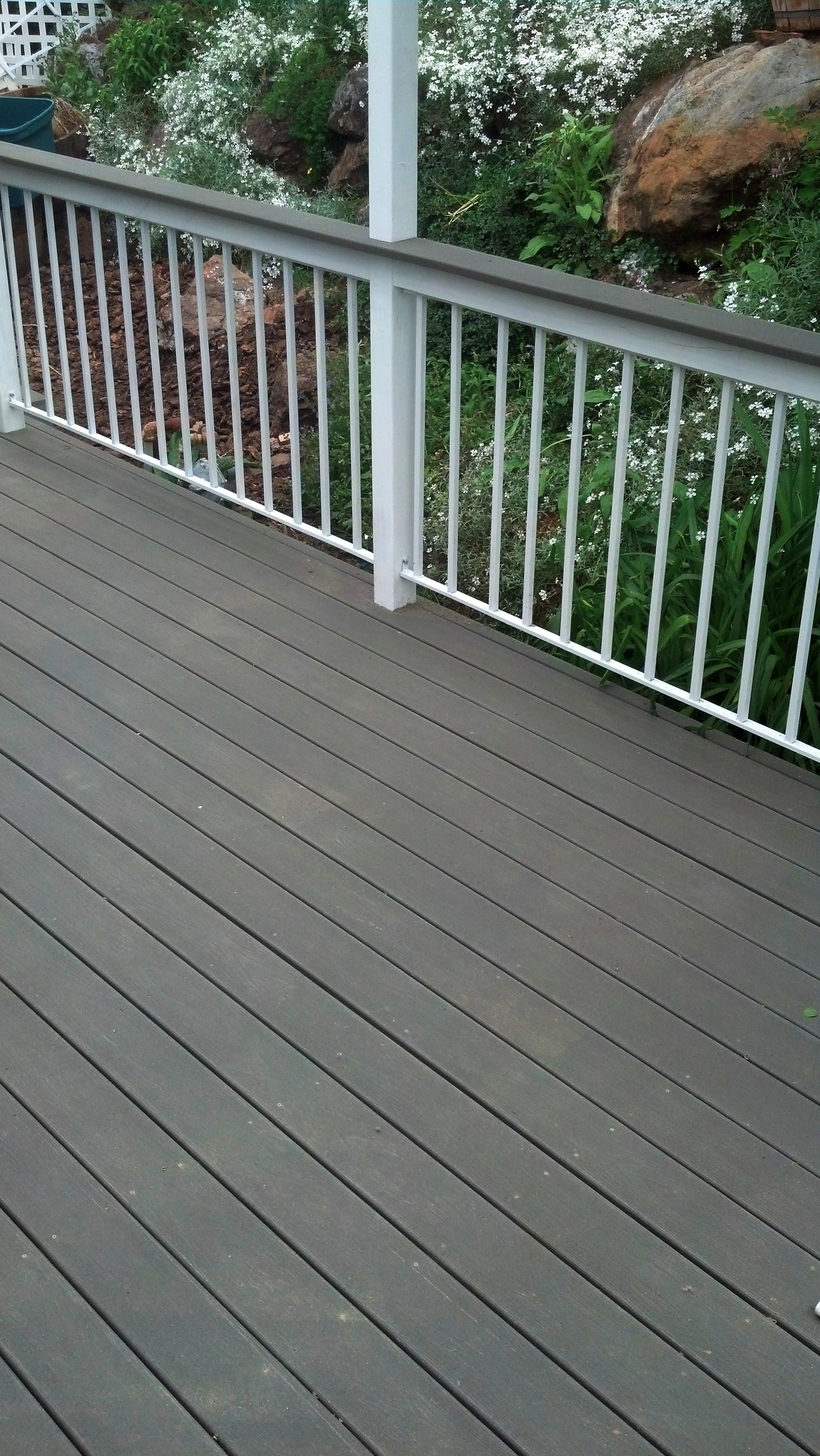 composite decking and metal handrail