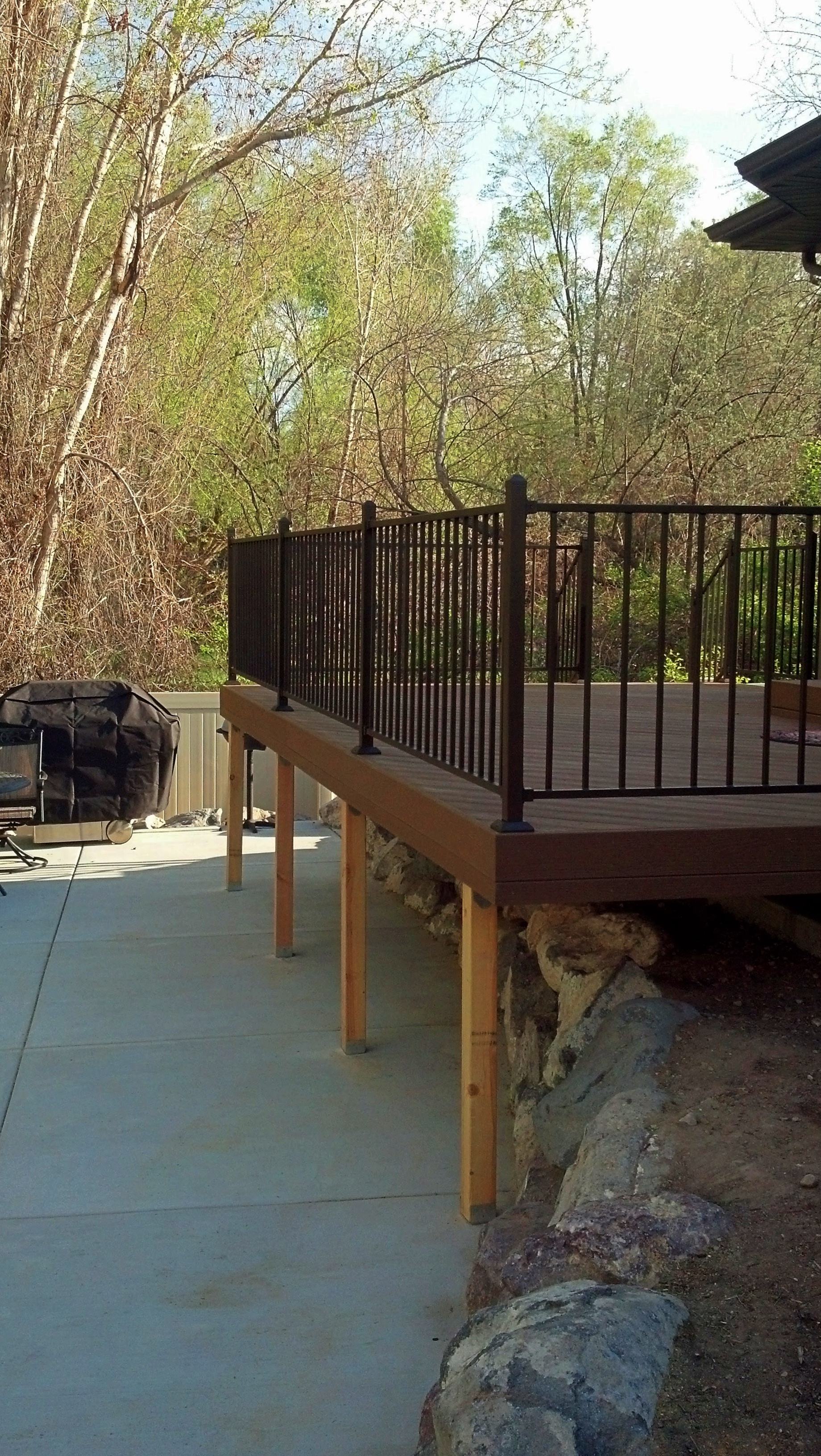 Cedar timbers and metal handrail