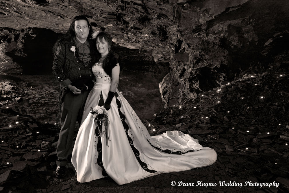 Bride and Groom photographed in cave