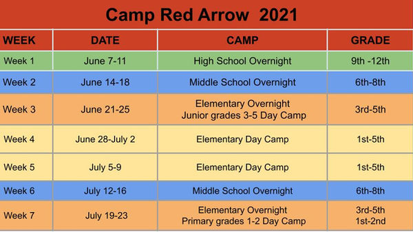 correct 2021 Camp Red Arrow Dates. 3.26.