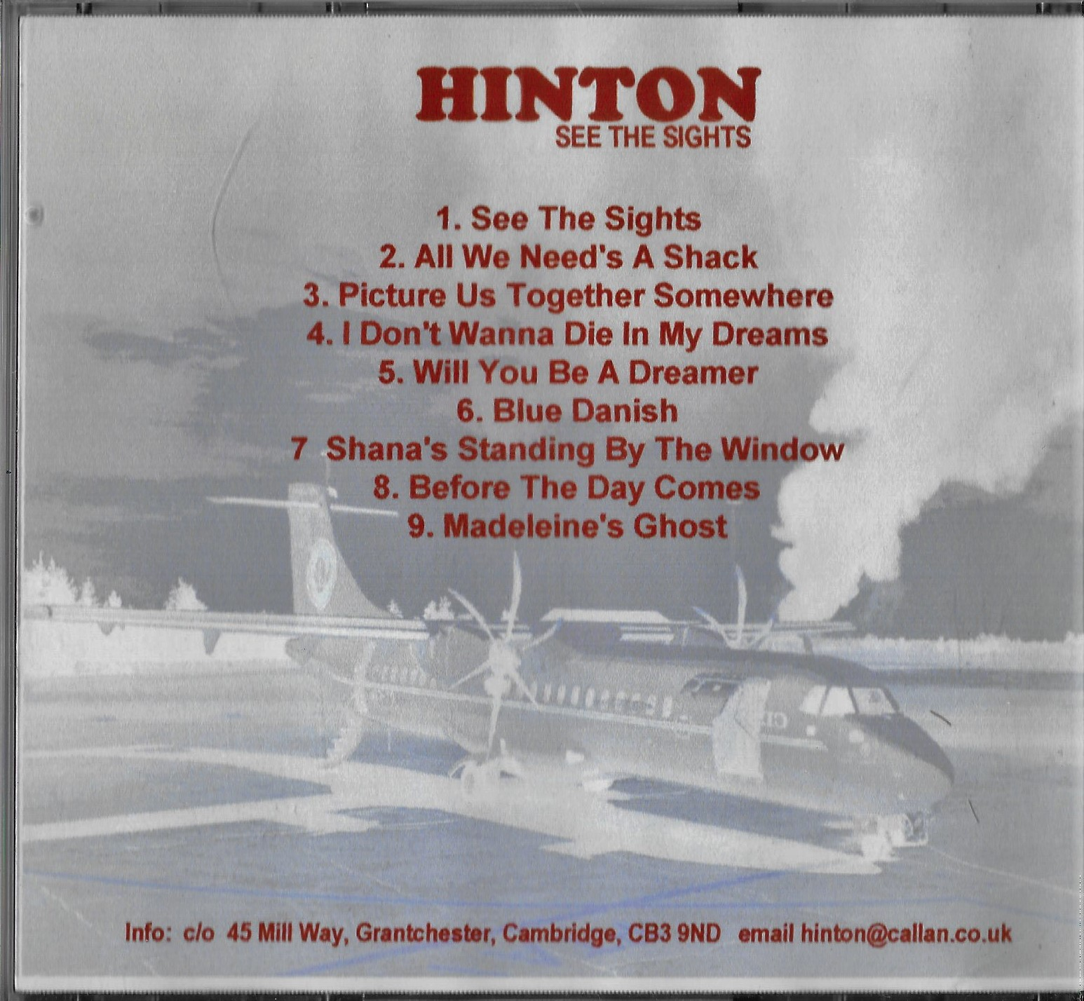 HINTON See The Sights CD Back Cover