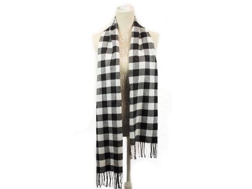 Black and white buffalo checkered scarf