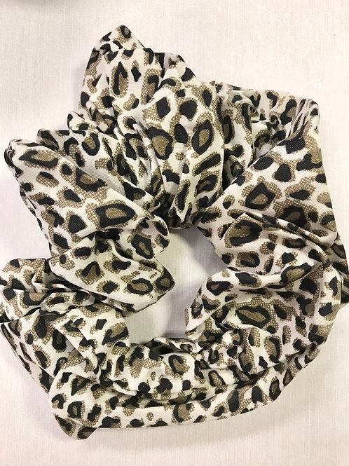 White & Tan Leopard Scrunchie