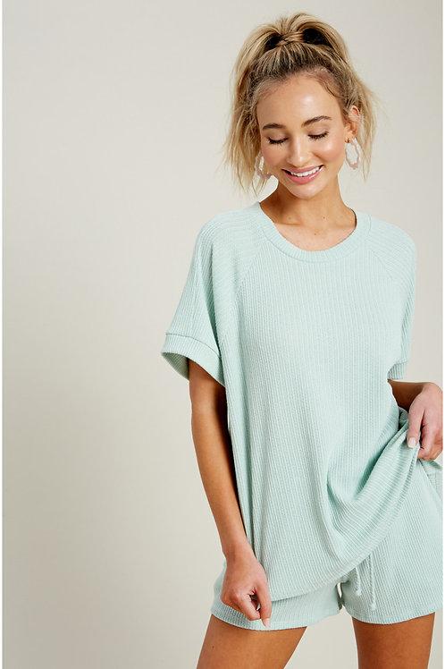 Mint Pointelle Raglan Shirt