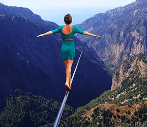 woman walking a tightrope feelin empowered