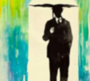 man standing under an umbrella of rainbow
