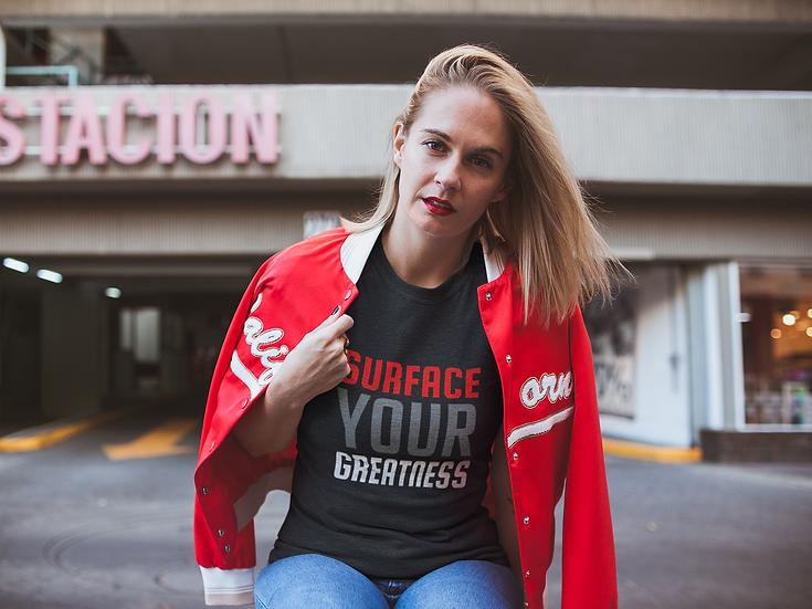 Unisex Tri-Blend Surface Your Greatness T-Shirt (Red and White)