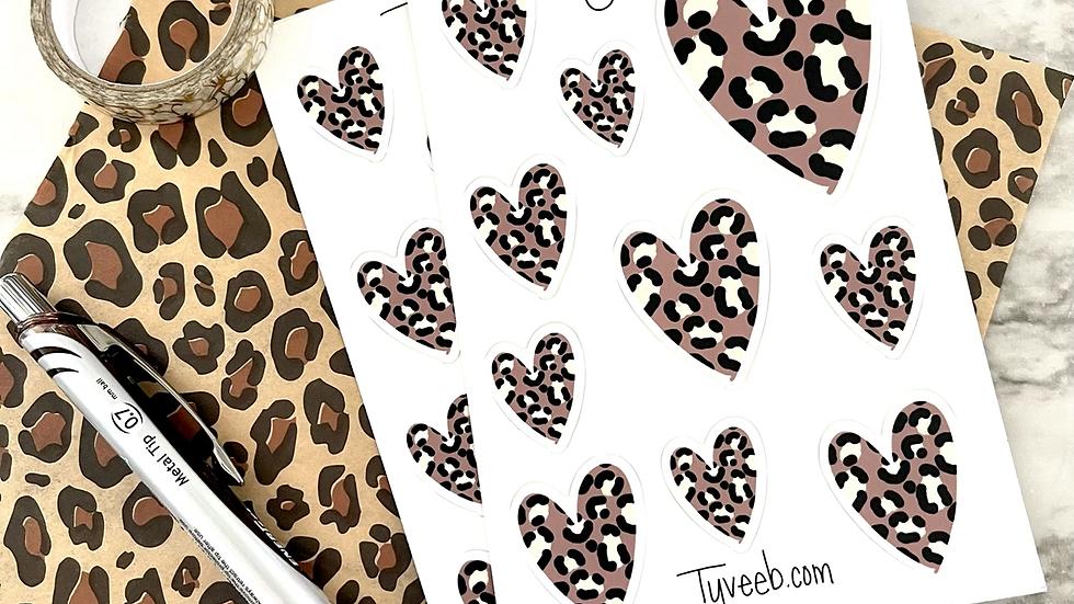 Leopard Hearts Sticker Sheet (1 sheet)