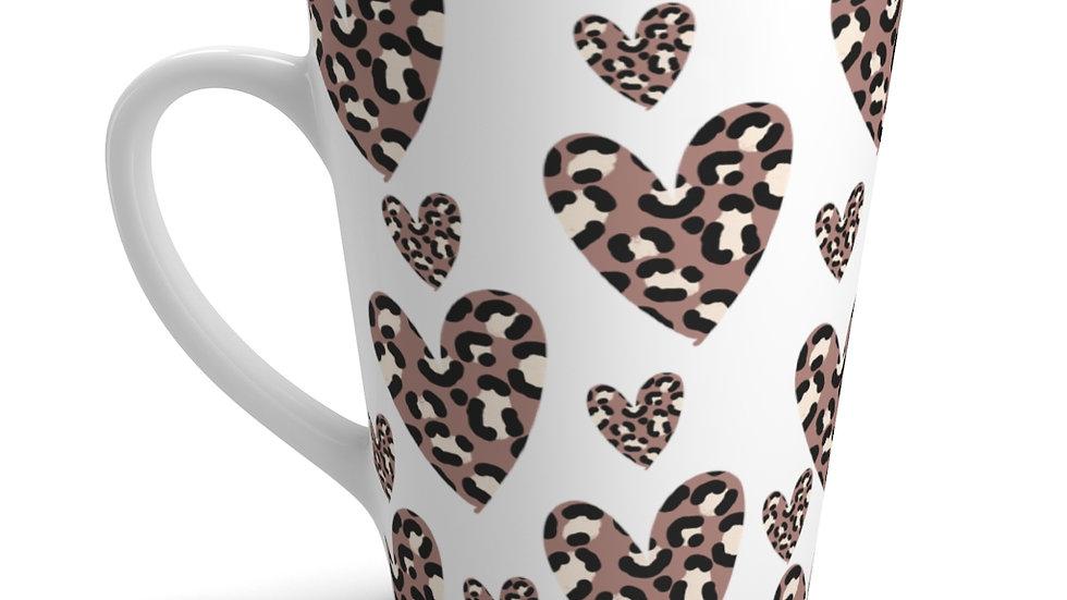 Leopard Print Hearts MUG | Latte Mug | 12oz |