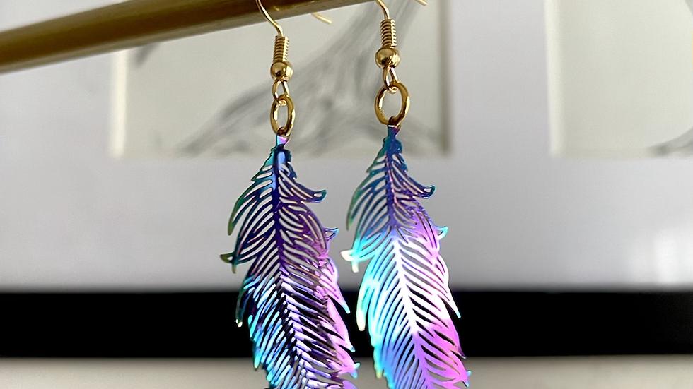 Rainbow Feather Earrings