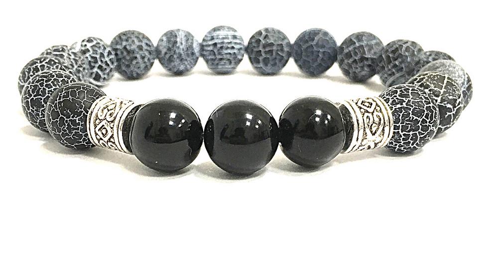 MEN Crackle, Black & Agate Bracelet