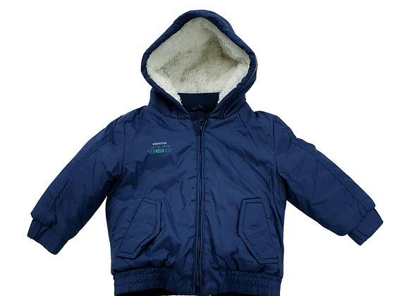 Navy blue jacket with fleece lining 9-12m
