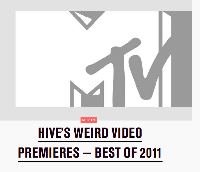 "MTV  Hive chooses ""MER"" as the 4th best weird music video premiere of the year"