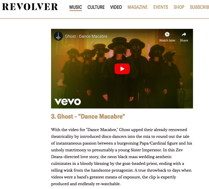 GHOST HITS REVOLVER'S TOP 5 VIDEOS