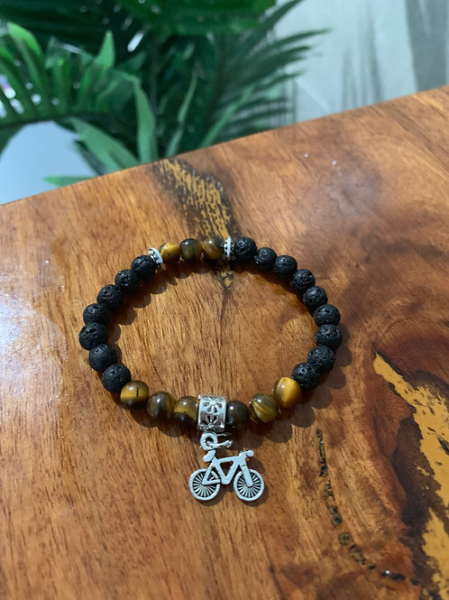 Boys Bike Tiger Eye & Lava Stone Bracelet