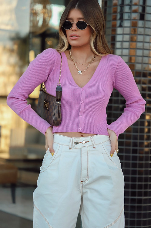 CROPPED CARDIGAN TRICOT LILÁS