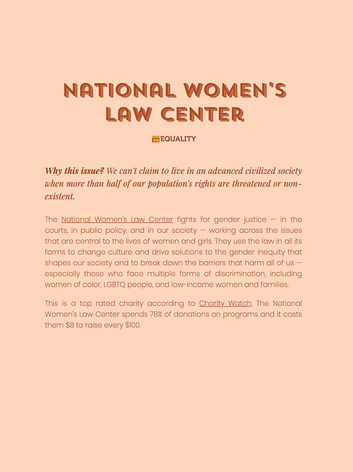 National Women's Law Center Donation