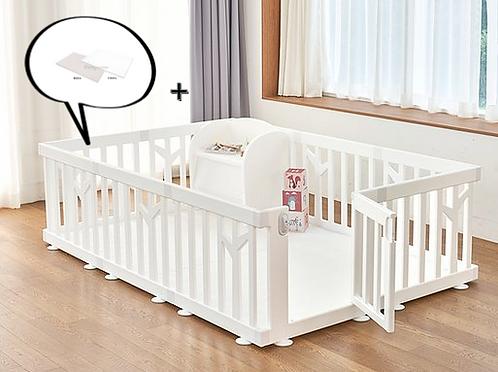 【Set】 iFam Birch Baby Room White+ Mat  【組合】 樺木圍欄啡  + 地墊 217x146x62.5cm