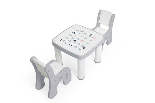 iFam Bookshelf Little Table Set Grey 趣緻學習枱套裝 灰 58x58x49cm