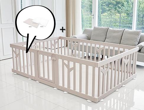 【Set】 iFam Birch Baby Room Brown+ Mat  【組合】 樺木圍欄啡  + 地墊 217x146x62.5cm
