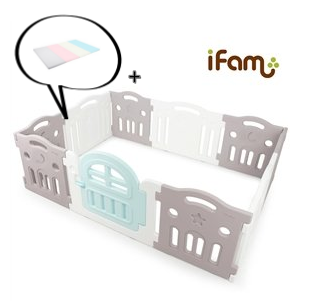 【Set】 iFam Tallest Baby Room Grey/White + Mat  【組合】 最高圍欄 灰白  + 地墊 207x147x65.5cm