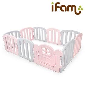 iFam First Baby Room P+G  簡約風圍欄 粉紅+灰 207x147x60cm