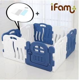 【Set】 iFam Shell Baby Room Blue (S) + Mat  【組合】 貝殻圍欄 藍 (小) + 地墊  133x133x60cm