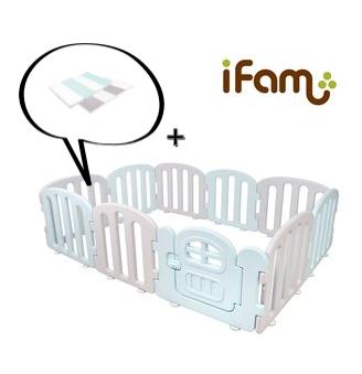 【Set】 iFam First Baby Room BG + Mat  【組合】 簡約風圍欄 藍 + 地墊 207x147x60cm